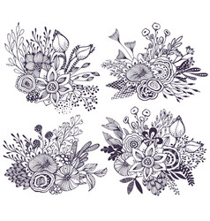 Set of four beautiful fantasy bouquets with hand vector