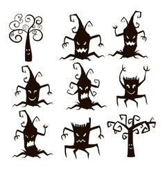 Set of silhouette trees and stumps icons vector