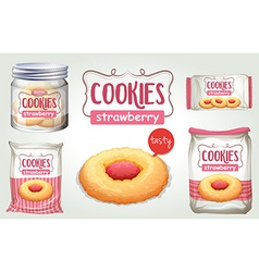 Set of strawberry cookies in different packages vector image