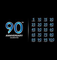 Set premium anniversary logotype silver vector