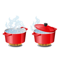 Set red pans with boiling water opened and closed vector