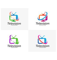 Set tv creative logo concepts television logo vector