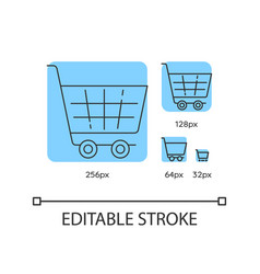 shopping cart blue linear icons set vector image