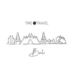 single continuous line drawing bali city vector image