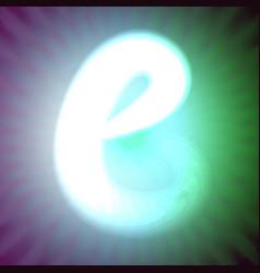 single light blue neon letter b of vector image