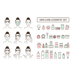 Skin care cosmetic set on promo poster with woman vector
