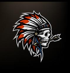 skull an indian warrior vector image