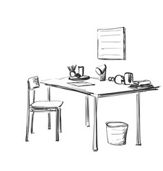 Table with paper and workplace drawn by hand vector