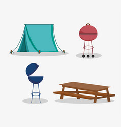 tent grill table picnic in park vector image