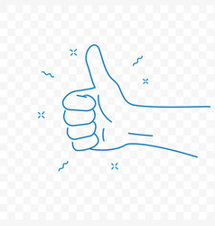 thumb up best hand gesture doodle icon vector image