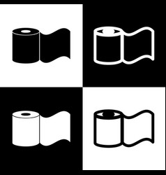 toilet paper sign black and white icons vector image