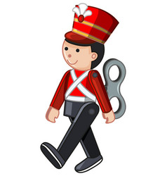 Toy soldier walking on white background vector