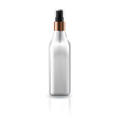 Transparent cosmetic square bottle with spray head vector