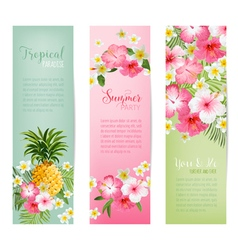 Tropical Flowers and Pineapples Banners and Tags vector