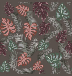 tropical leaves seamless pattern taup background vector image