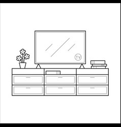 tv bench in thin line vector image