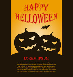 vertical halloween poster with two pumpkins vector image
