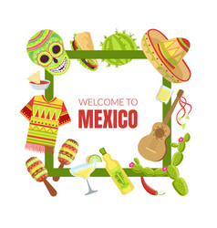 welcome to mexico banner template with travelling vector image