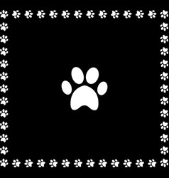 White animal pawprint icon framed with paw prints vector