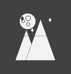 White icon on black background moon and pyramids vector