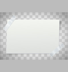 white paper note with the adhesive tape on vector image