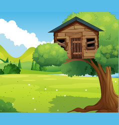 wooden treehouse in the park vector image