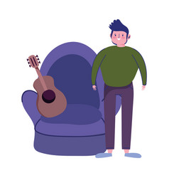 Young man with guitar in chair quarantine stay at vector