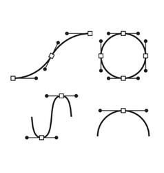 Bezier Curve Icons Set Designer work tools vector image