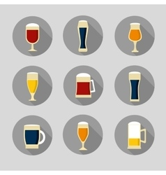 Big set of beer glasses and bottles vector image