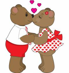 kissing bears vector image vector image