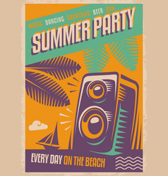 summer party retro poster vector image vector image
