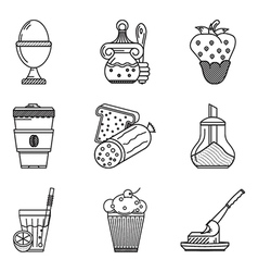 Breakfast menu black line icons vector image vector image