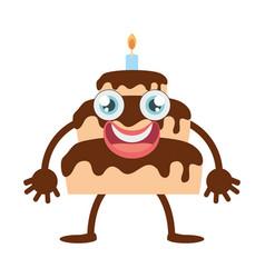 cartoon chocolate cake party vector image