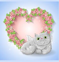 festive card for a wedding or a birthday wreath of vector image vector image