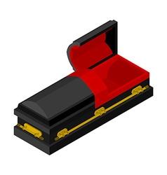 Open black coffin isometrics Wooden casket for vector image