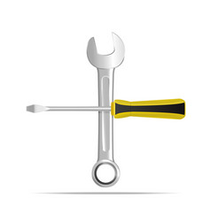 realistic detailed wrench and screwdriver vector image vector image