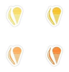 Set of paper stickers on white background banana vector
