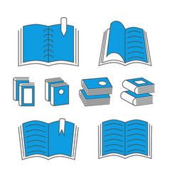 thin line book icons with color elements isolated vector image vector image
