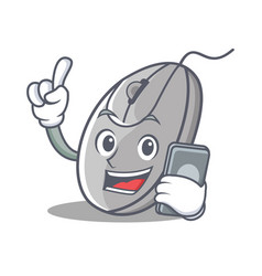 with phone mouse character cartoon style vector image vector image