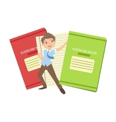 Boy in school uniform with two giant notebooks vector