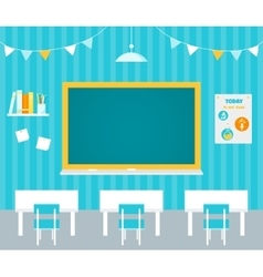 Classroom with Blank Chalkboard Flag Garlands vector image vector image