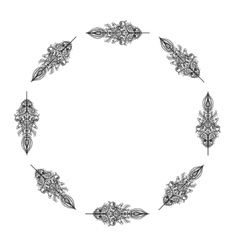 Decorative frame from feathers tribal vector