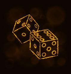 dice icon silhouette of lights casino symbol vector image vector image