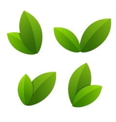 Ecology icon set green leaves vector image