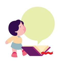 little girl reading a book vector image vector image