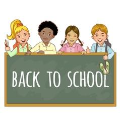 Schoolgirls and schoolboys at the blackboard vector image vector image