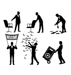 silhouettes of businessmen in action vector image vector image