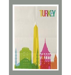 Travel Turkey landmarks vintage paper poster vector image vector image