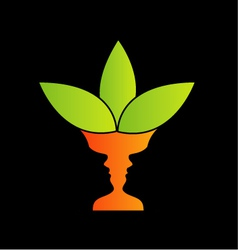Abstract flower vase with of two faces vector image vector image