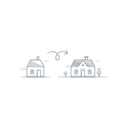 Bigger and smaller home difference concept vector image vector image